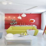 Amenajarea livingului in alb si rosu