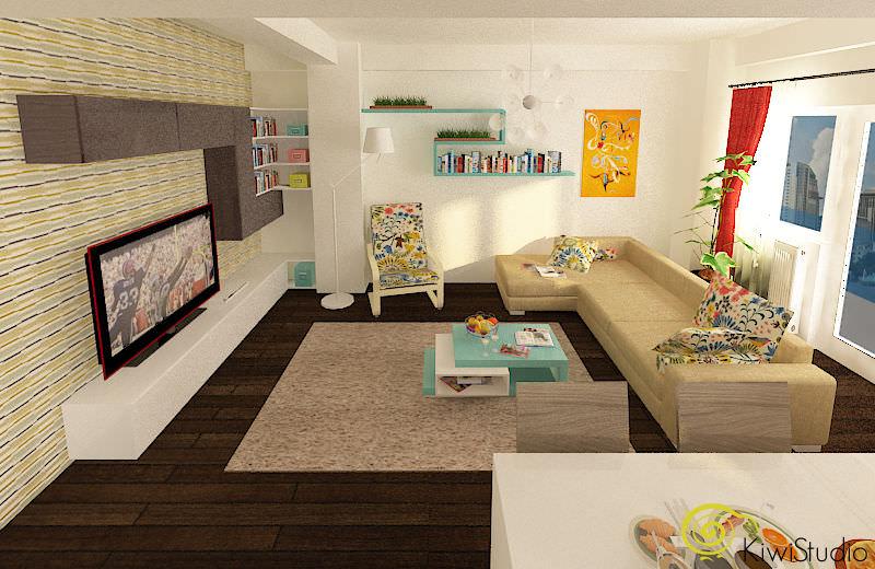 Design interior pentru living cu bucatarie deschisa