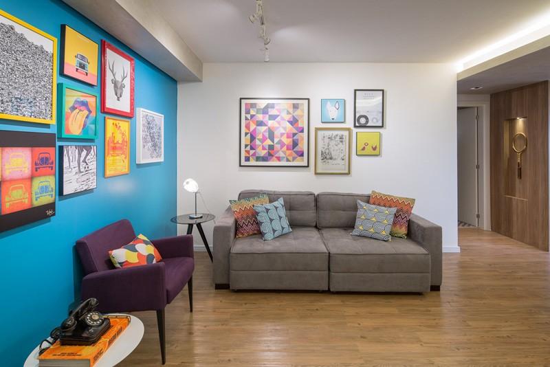 design interior perete albastru