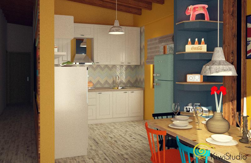 design interior bucatarie alba galben