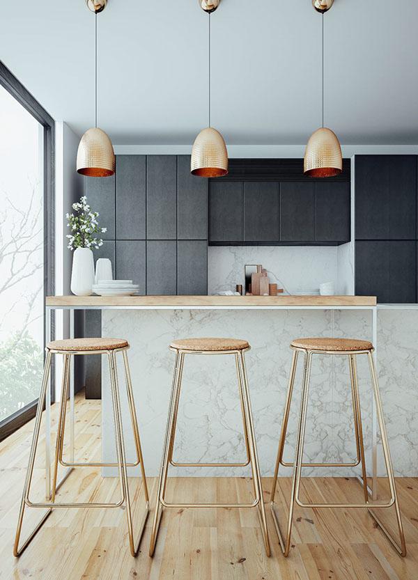 design interior bucatarie corpuri iluminat bronz