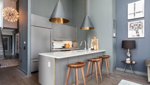 design interior bucatarie gri bronz