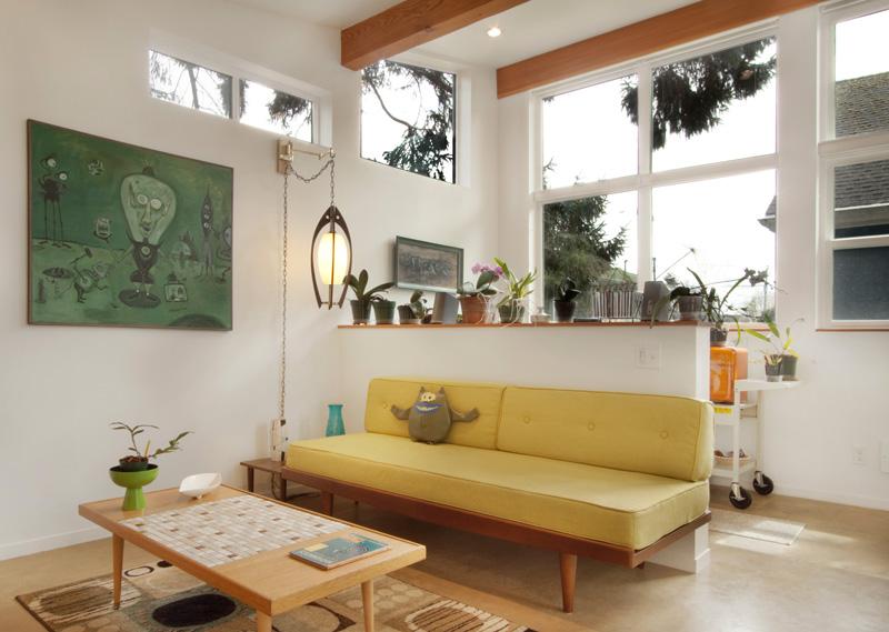 inspiratie design interior arhitectura canapea galbena