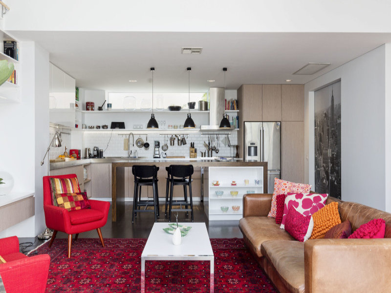 design interior bucatarie open space living alb
