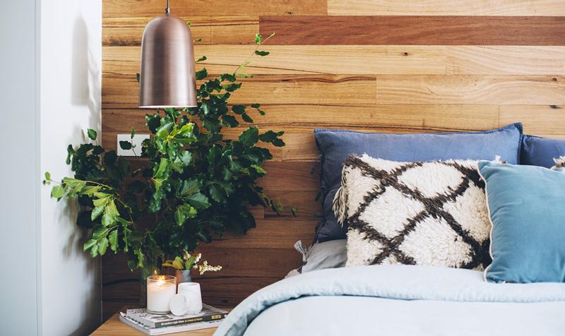 detalii de design dormitor placare lemn