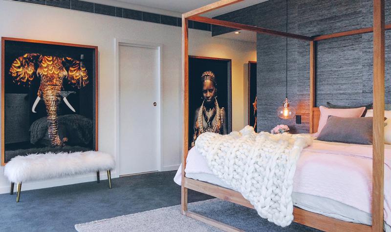 detalii de design dormitor gri