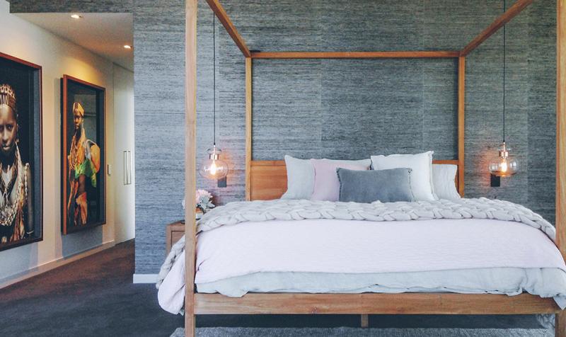detalii de design dormitor tapet gri