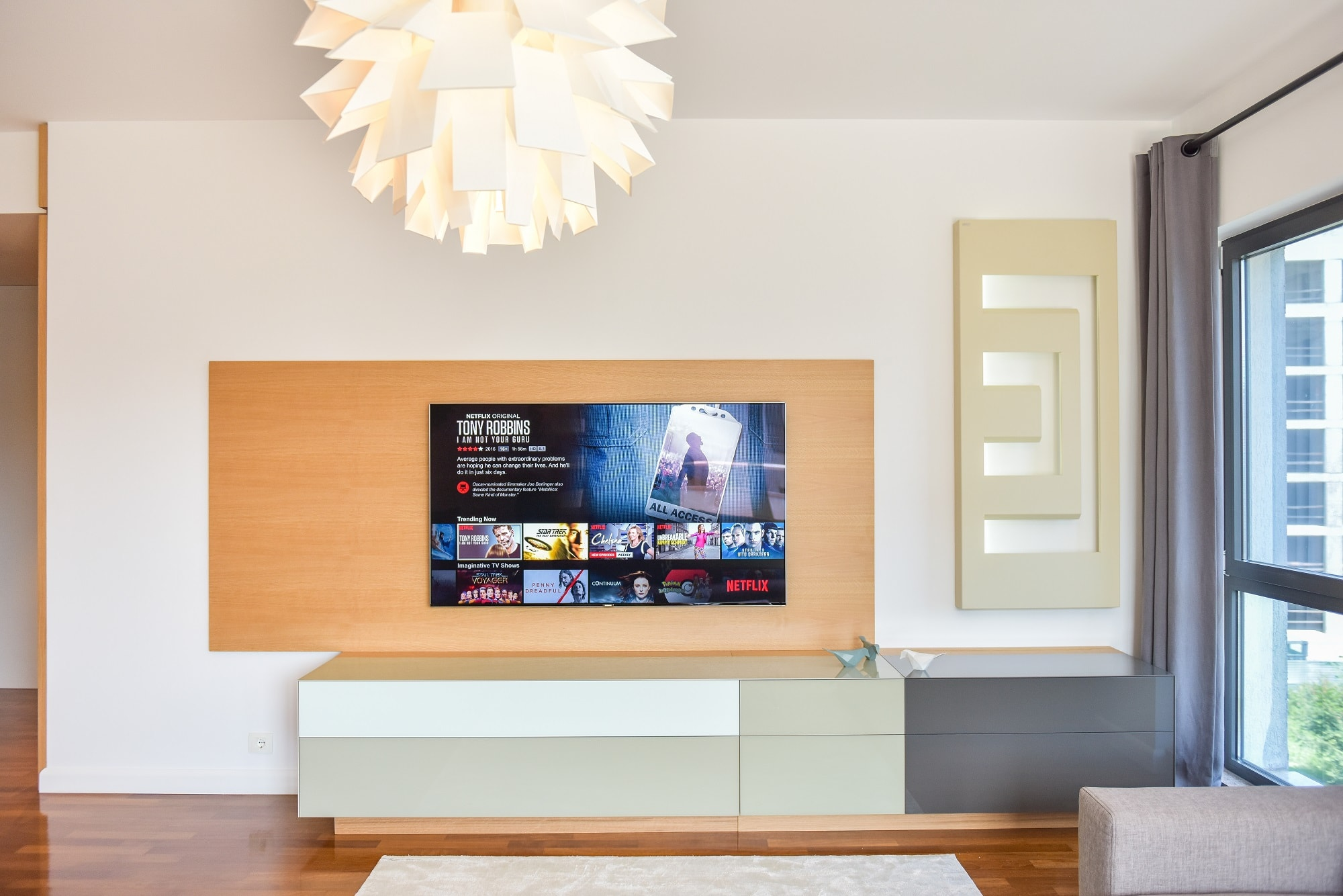 design interior living Kiwi Studio comoda tv culori neutre