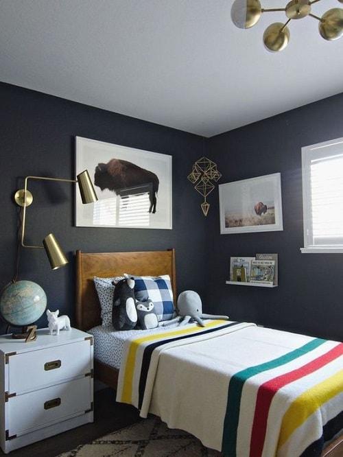 design interior camera adolescenti pereti albastru inchis