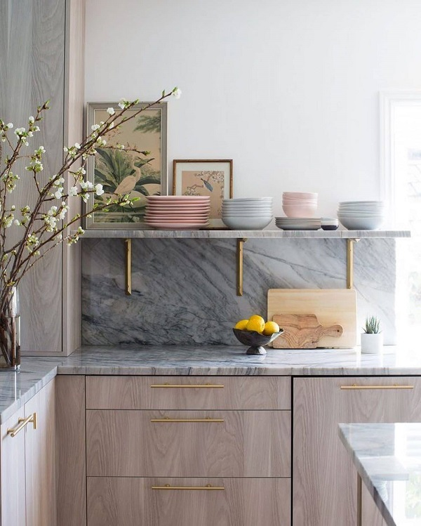 design interior bucatarie blat marmura