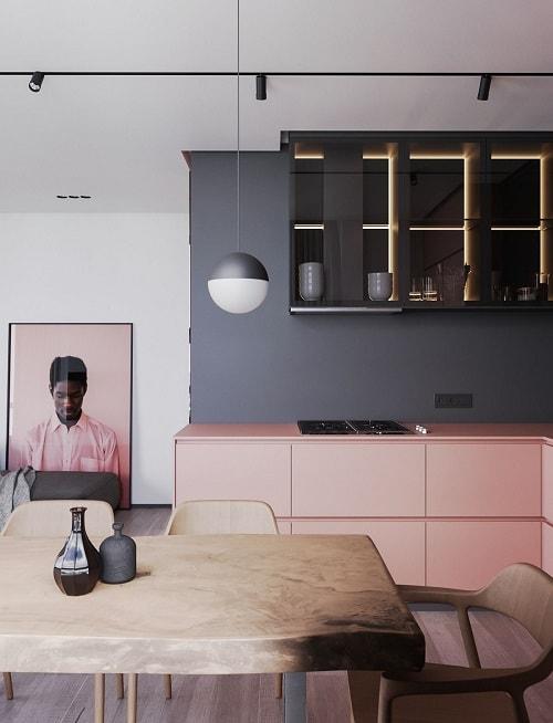 bucatarie roz pal gri inchis