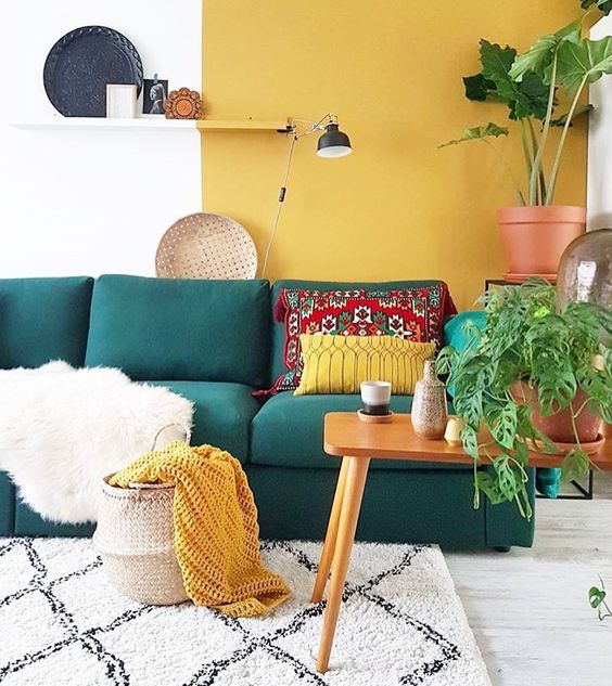 design interior turcoaz si galben
