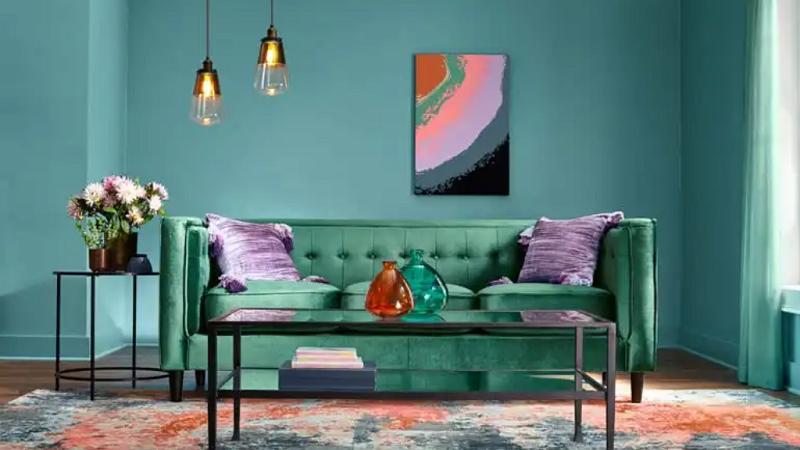 design interior living turcoaz canapea verde