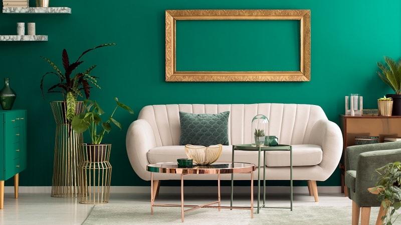 design interior living turcoaz verde rama aurie