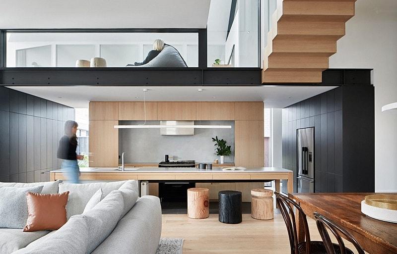 case cu mezanin design interior bucatarie open space