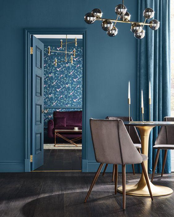design interior turcoaz dining scaun crem