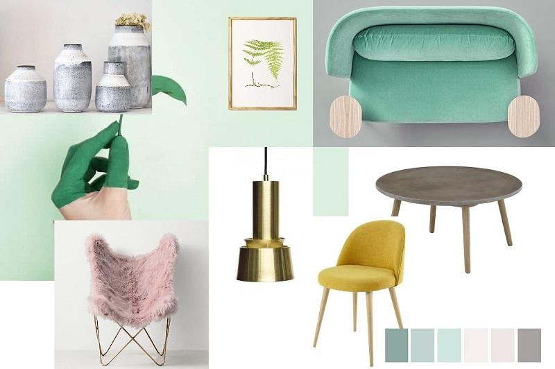 Moodboard design interior verde menta/ neo mint, culoarea anului 2020