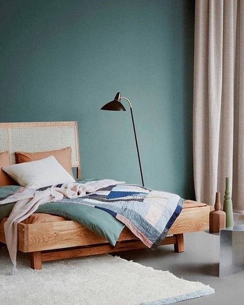 Turcoaz la amenajari interioare dormitor minimalist