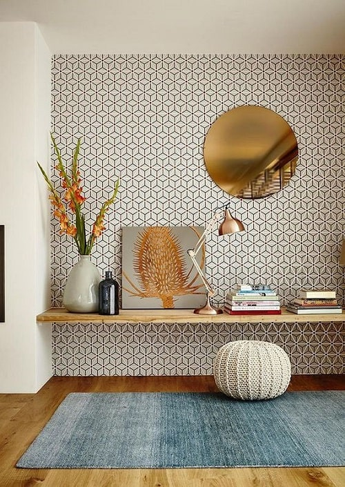 Design interior print geometric si albastru pentru zodia Varsator