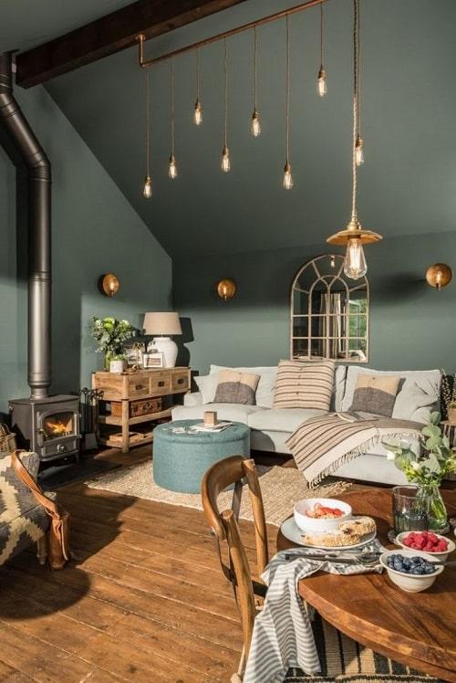 Design interior boem si maximalist cu turcoaz pentru zodia Varsator