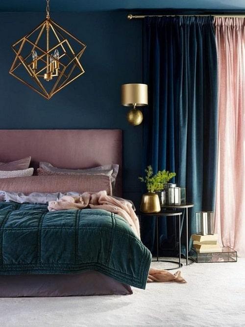 Design interior dupa zodie pentru Scorpion dormitor turcoaz inchis