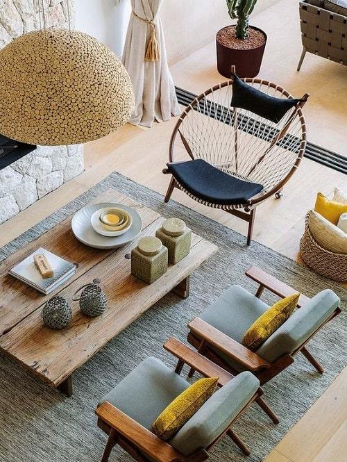 Design interior living cu lampa pluta masa lemn masiv