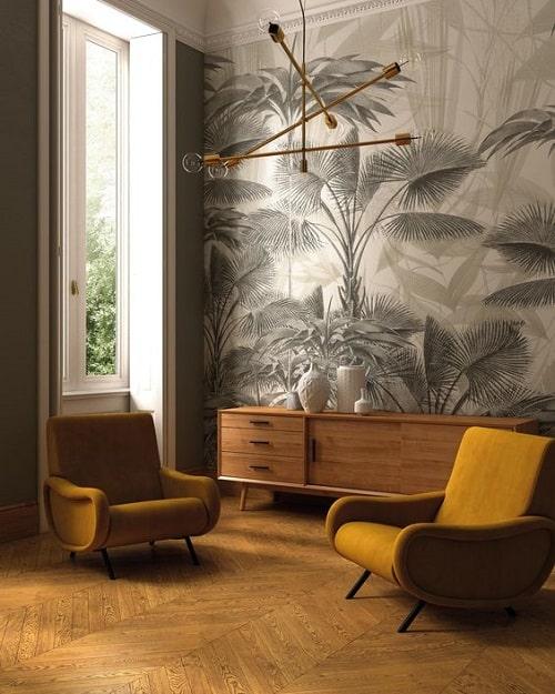 Living cu print vegetal fotolii mustar design interior dupa zodie Sagetator