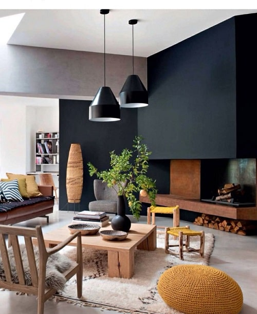 Living negru cu lemn pentru zodia Scorpion