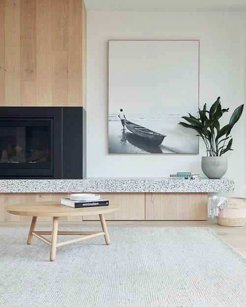 Design interior living cu terrazzo stejar