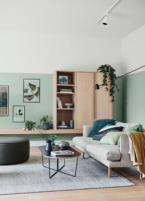 Design interior pentru living modern cu verde si gri