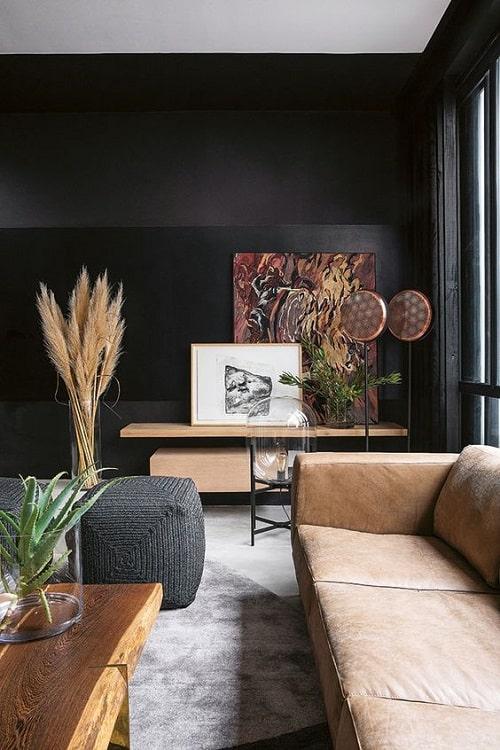 Design interior living perete negru canapea piele pentru zodia Pesti