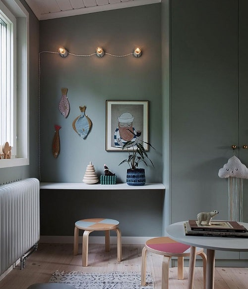 Design interior scandinav in verde pastelat