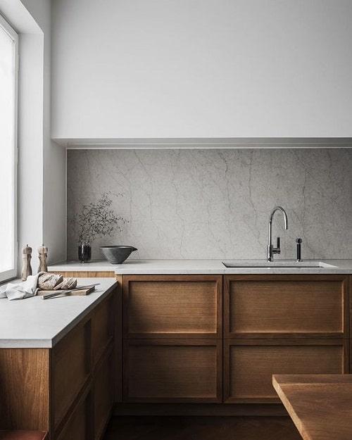 Fundal piatra mobila bucatarie nuc tendinte in design interior pentru 2020
