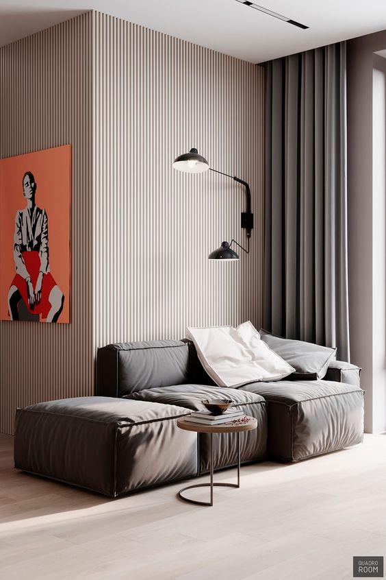 Design interior living culori neutre accent de culoare