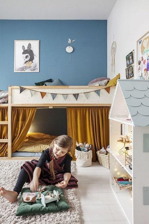 design interior camera copii albastru pat suprapus