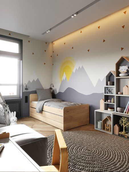 amenajarea unei camere de copii cu gri si galben