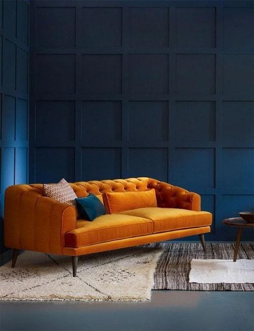 Design interior living cu accent culoare galben