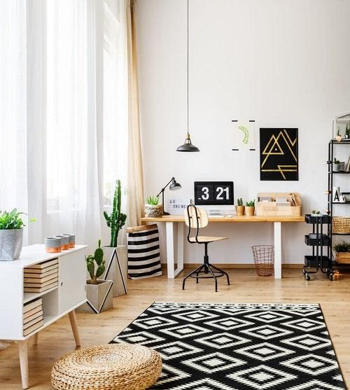 Design interior nordic cu plante si mobila alb negru