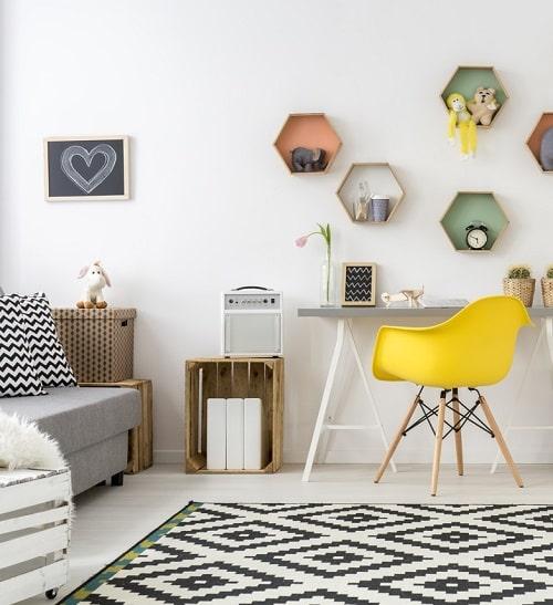 Amenajari interioare in stil scandinav  alb negru si culori