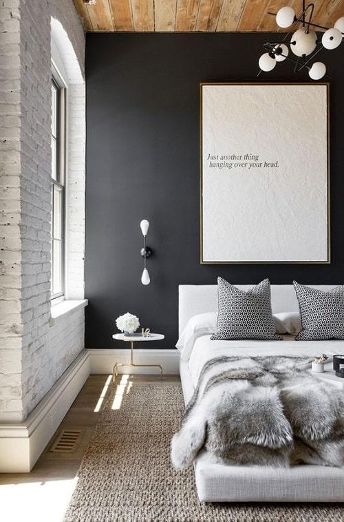 Dormitor cu fundal negru tendinte in design interior pentru 2020
