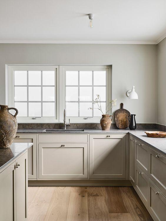 Design interior pentru bucatarii open space crem