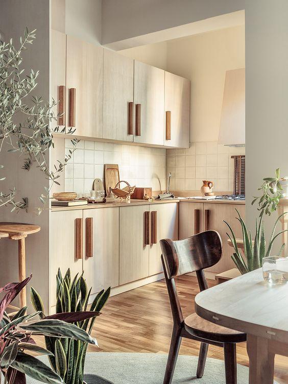 Design interior bucatarii open space cu loc de luat masa si decor din plante