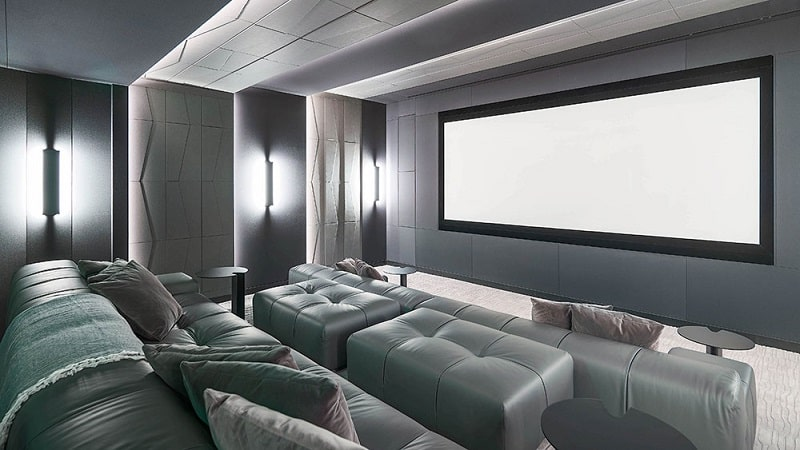 Sala privata de cinema in apartamentul Beckham din Miami